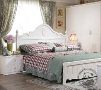 【周年庆】全友家私 韩式田园风卧室家具三件套08_床+床头柜