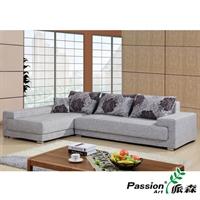 派森家具 客厅组合沙发/转角布艺沙发现代 实木木质布艺沙发