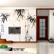 MESU米素 现代中式 壁画 卧室客厅电视背景墙 墨竹ZG-0075山水画