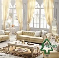林氏木业欧式沙发田园沙发 仿羊皮沙发家具三人 皮艺沙发2014