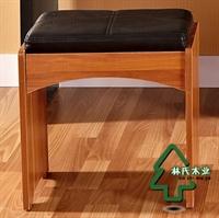 林氏木业新中式梳妆凳子 时尚化妆凳 家具皮艺妆凳km801