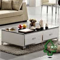 林氏家具现代钢化玻璃茶几 时尚烤漆茶几茶桌 不锈钢长几y-cj210