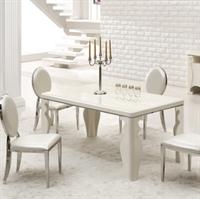 鑫桂家具 时尚长方形烤漆象牙白餐桌 钢化玻璃餐台