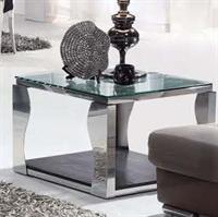 鑫桂现代简约客厅 钢化玻璃角几不锈钢