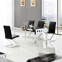 鑫桂钢化玻璃长方形餐桌餐厅家具现代时尚镂空桌子