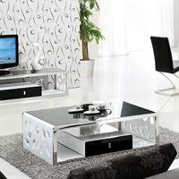 鑫桂创意黑白茶几钢化玻璃茶几 客厅家具时尚简约长几
