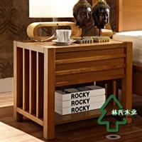 林氏木业 东南亚风格卧室床头柜 实木储物收纳柜 品牌家具zm-102b