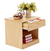 喜梦宝松木家具 原木色环保实木 床头柜 抽屉柜