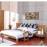 派森家具 简约现代1.8米板式卧室双人床/大床 含床头柜 PS-DC001