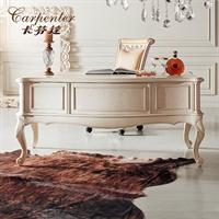 卡芬达 欧式小书台家具 白色书桌 1.6米 办公桌 雕花写字台