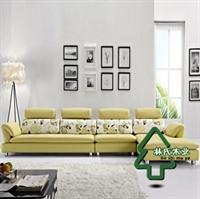 林氏木业 现代皮艺沙发 客厅组合转角沙发 皮布沙发 bo22220