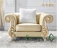 林氏木业欧式沙发田园沙发 仿羊皮沙发家具 单人皮艺沙发2014