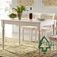 林氏木业韩式田园餐桌 实木脚家具 时尚板式饭桌 简欧饭台ct163