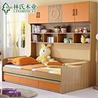 林氏木业儿童床 抽屉储物单人床 儿童家具套房 青少年床606床