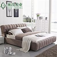 林氏木业现代布艺床 时尚双人床1.8米个性厚靠背软包软床f061