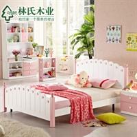 林氏木业儿童床 浪漫卧室1.5米公主床 女孩双人床t-mzgn-21