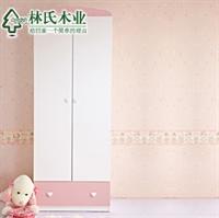 林氏木业儿童衣柜 公主卧室家具两门衣柜 收纳衣橱t-mzgn-23