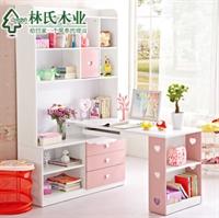 林氏木业儿童转角书桌柜 浪漫公主书柜电脑桌组合t-mzgn-24