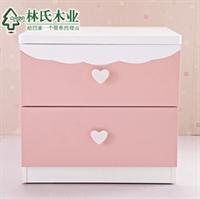 林氏木业儿童床头柜 公主卧室家具简约两抽屉收纳柜t-mzgn-22