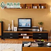 林氏木业新中式玻璃电视柜 简约地柜kn801