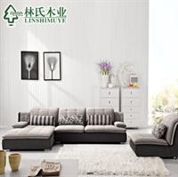 林氏木业布艺沙发 靠背调节 时尚现代客厅转角绒布沙发组合f09853