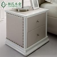 林氏木业 仿皮欧式床头柜 时尚小储物柜 二斗床边柜 品牌b46