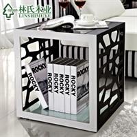 林氏木业 现代客厅角几小茶几 时尚钢化玻璃边几y-d203