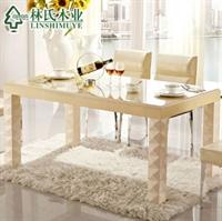 林氏木业板式餐台 时尚简约2012玻璃长方形餐厅饭桌子 dt116