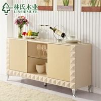 林氏木业板式餐边柜 时尚简约2012玻璃长方形餐厅 碗柜 c20