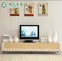 林氏木业板式地柜视听柜 简约2012玻璃长方形客厅 电视柜 d80