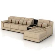 梅德比 皮艺沙发客厅转角储物组合 C50V
