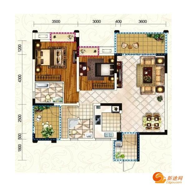 世纪广场三室两厅一厨一卫98.04m²