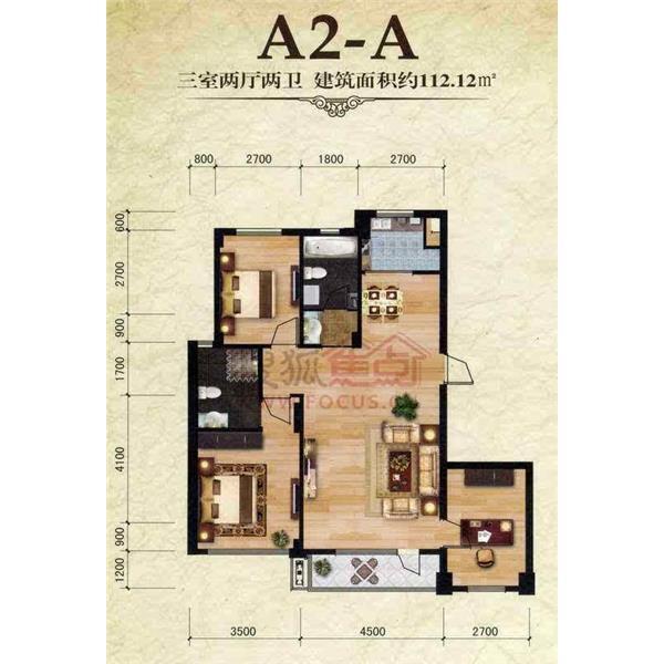 保利雅苑三居二厅二卫112.12m²