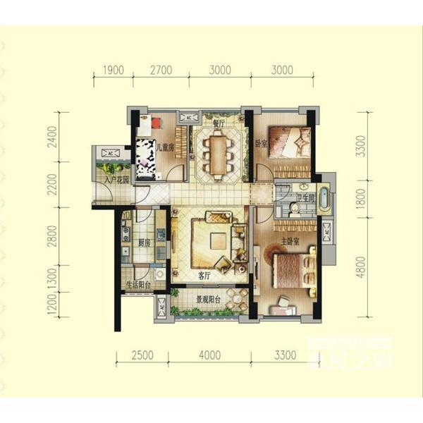 美丽新城三居一厅一卫109.00m²
