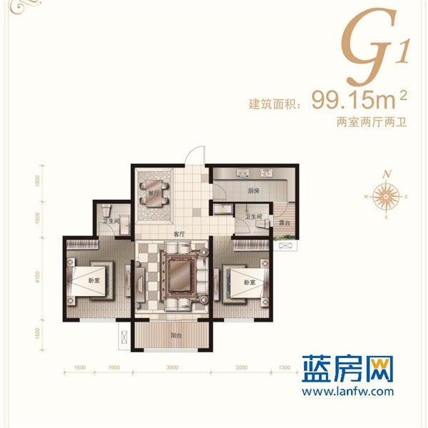 华创·天地豪庭二居二厅二卫99.15m²