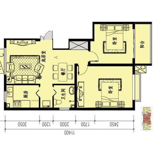 溪城家园二居一厅一卫79.00m²