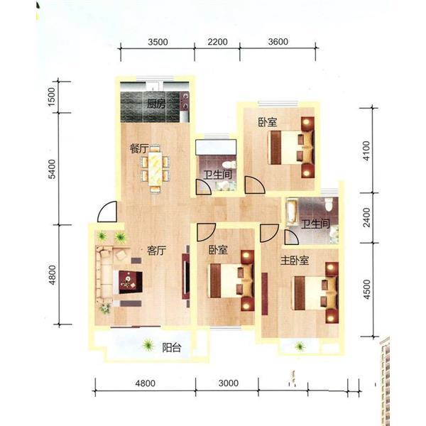 天通苑三居一厅二卫120.00m²