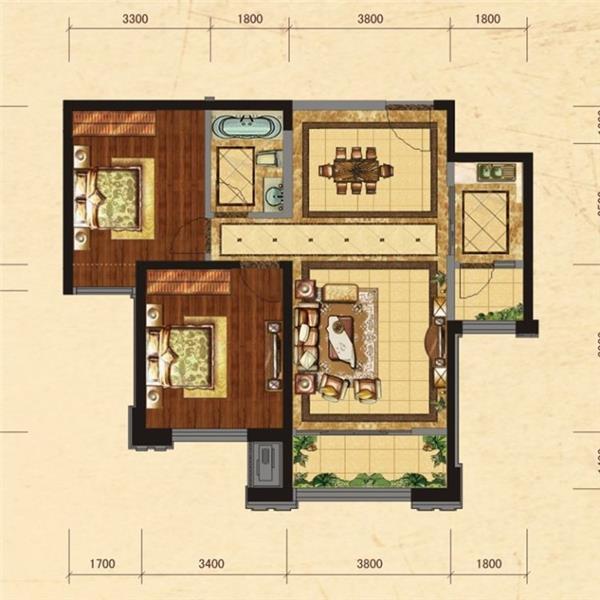 天通中苑二居一厅一卫98.00m²