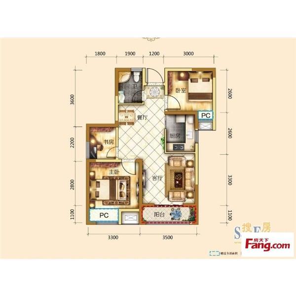 东方家园三居一厅一卫98.00m²