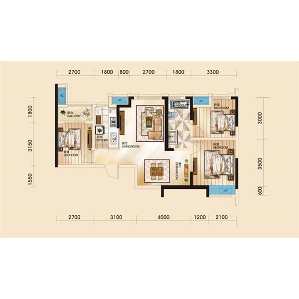 天通苑三居一厅一卫100.00m²