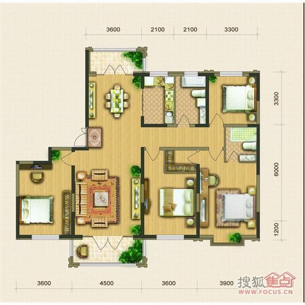 现代城四居二厅二卫125.00m²